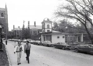 Black and white photo of the first Innis College building
