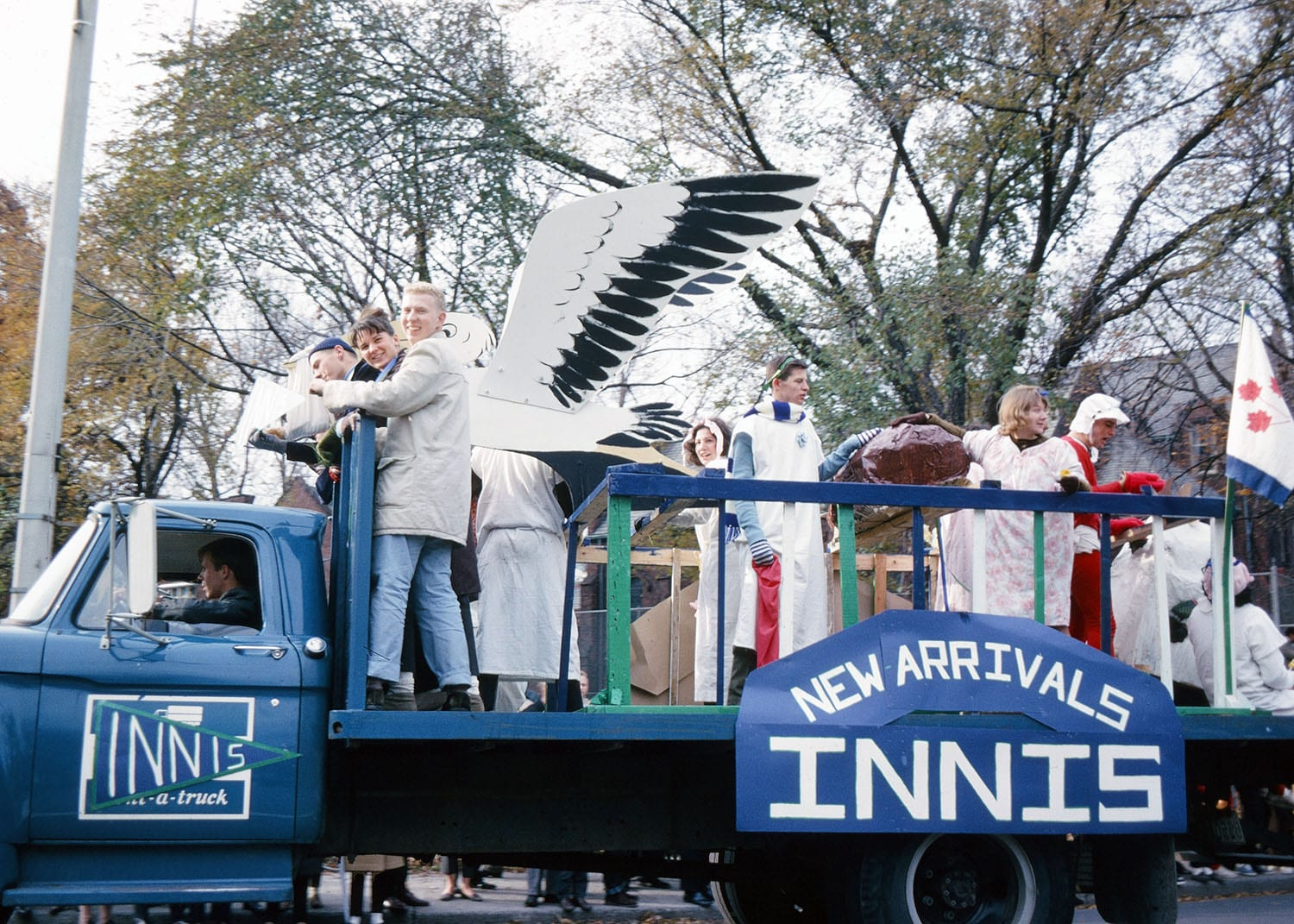 People dressed in costumes on the Innis Homecoming Float (1964)